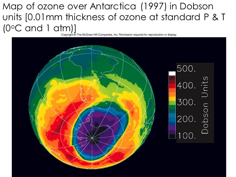Map of ozone over Antarctica (1997) in Dobson units [0